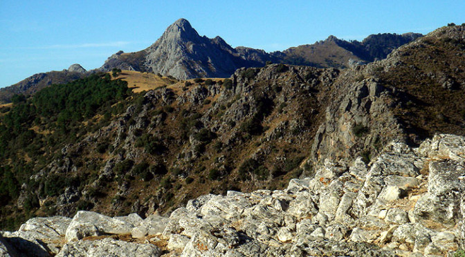 The view from the peak of Coros in the Sierra de Grazalema natural park in Andalucia