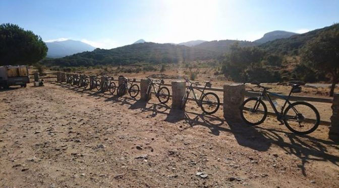 Setting up for another sunny day of mountain biking in the Sierra de las Nieves …