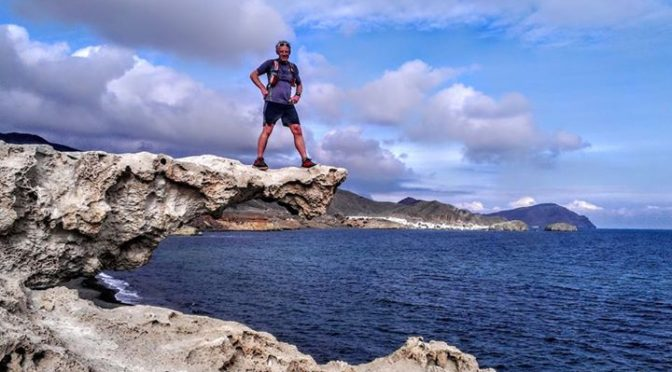 Exploring the volcanic coastline of Cabo de Gata National Park great trail runni…