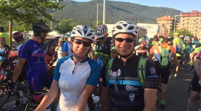 Phil and Hannah ready for the Treparriscos bike race. 85km, 1500m ascent and bak…