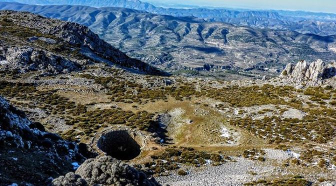 A snow well on the Sierra Serrella in the Costa Blanca mountains. There are many…
