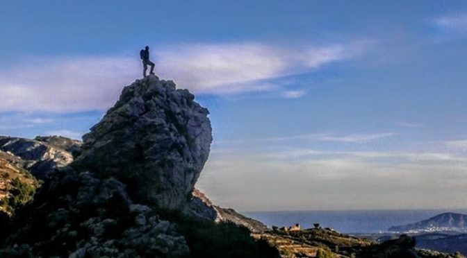 The view over the Mediterranean from Serrella. The mountains of the Costa Blanca…