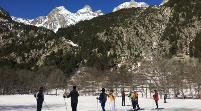 Out on a cross country skiing course at baños de Panticosa today. Really warm an…