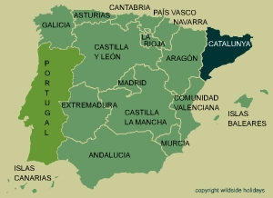 The northern edge of Catalunya, (Catalonia, Cataluña) borders with Andorra and France at the eastern or Occidental Pyrenees.