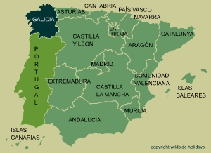 "Galicia is frequently described as ""Green Spain"", a result of its temperate climate and elevated rain fall."